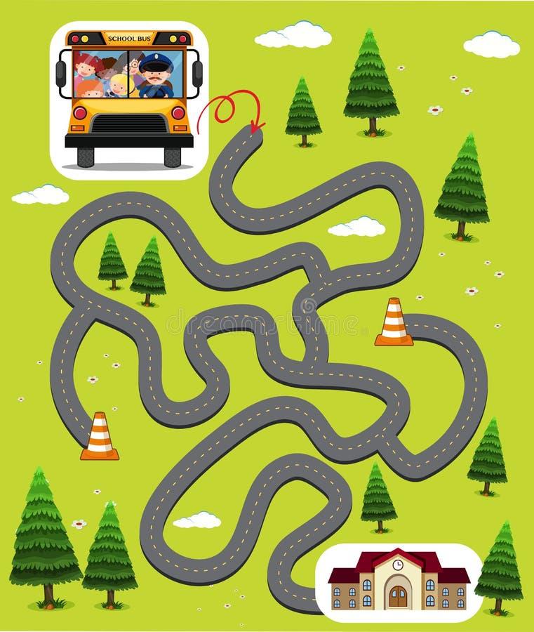 Modello del gioco del labirinto con i bambini in scuolabus royalty illustrazione gratis