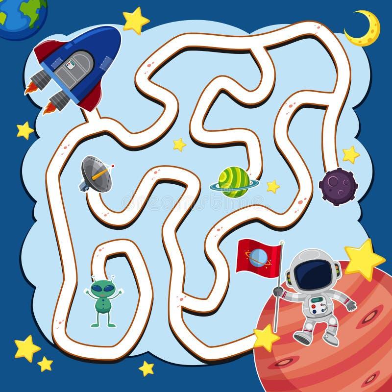 Modello del gioco del labirinto con l'astronave nello spazio illustrazione di stock
