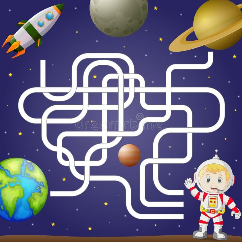 Modello del gioco del labirinto con spazio e l'astronauta, fondo illustrazione vettoriale