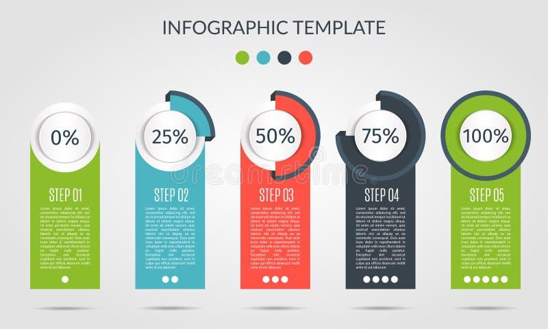 Modello del grafico nello stile moderno Per infographic e la presentazione Processo infographic del modello cinque di percentuale illustrazione vettoriale