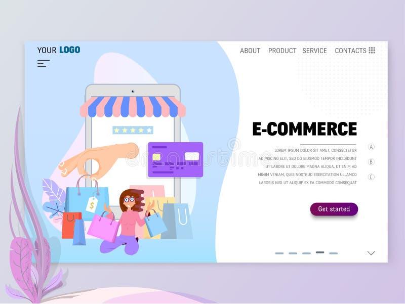 Modello del homepage di commercio elettronico per il sito Web o la pagina di atterraggio illustrazione vettoriale
