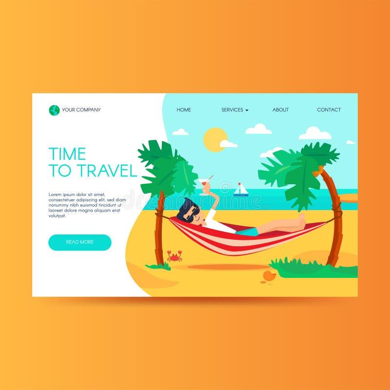 Modello del homepage del sito Web dell'agenzia di viaggi illustrazione di stock