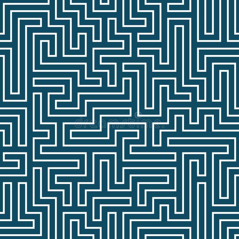 Modello del labirinto della geometria dell'estratto del grafico di vettore Priorità bassa geometrica senza giunte blu illustrazione di stock