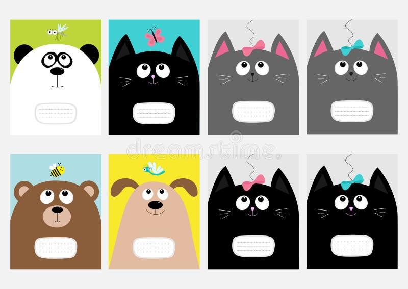 Modello del libro della composizione nella copertura del taccuino Gatto del bambino, panda, cane, testa del gattino dell'orso Arc illustrazione vettoriale