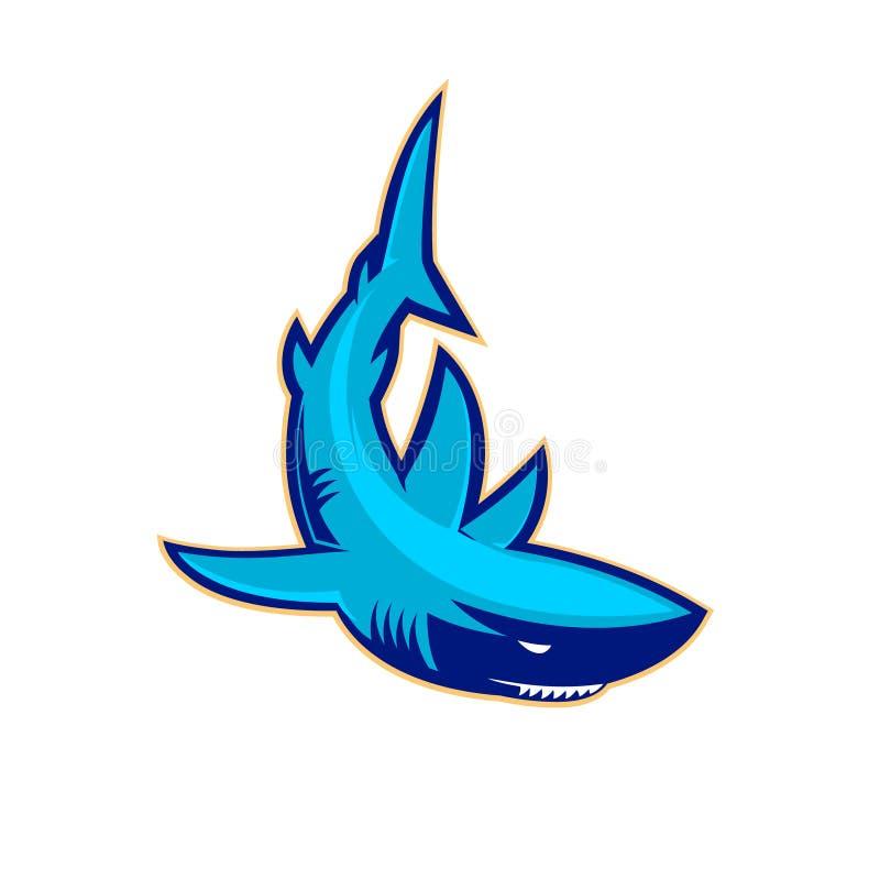 Modello del logo con lo squalo Mascotte dello sport di squadra Club di sport o illustrazione vettoriale