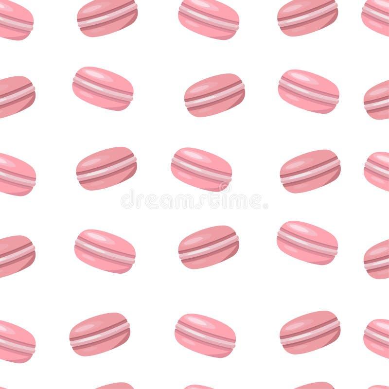 Modello del maccherone Biscotti dolci del dessert Struttura rosa di Macaron Priorità bassa bianca illustrazione vettoriale