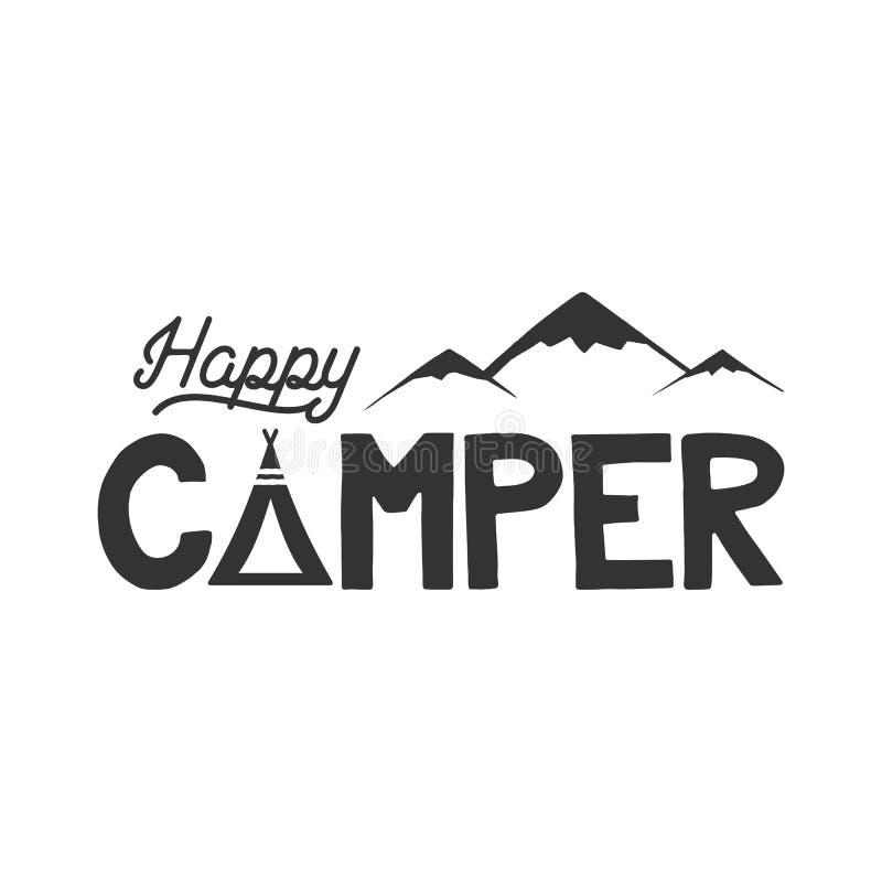 Modello del manifesto del campeggiatore felice Tenda, montagne e segno del testo Retro progettazione monocromatica Escursione del royalty illustrazione gratis