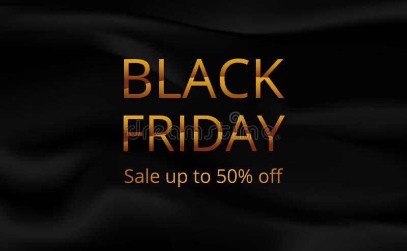 Modello del manifesto dell'insegna di offerta di vendita di Black Friday con tessuto di seta nero royalty illustrazione gratis