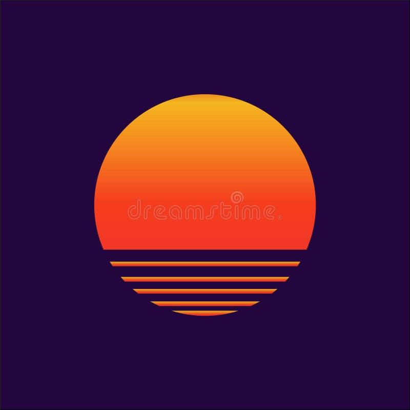 Modello del manifesto della copertura di Sun, del Logotype o di musica di Synthwave dell'universo di Sunwave illustrazione di stock