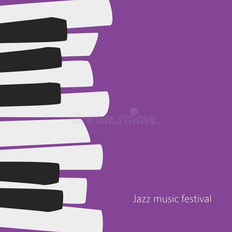 Modello del manifesto di festival di musica con le chiavi del piano illustrazione vettoriale