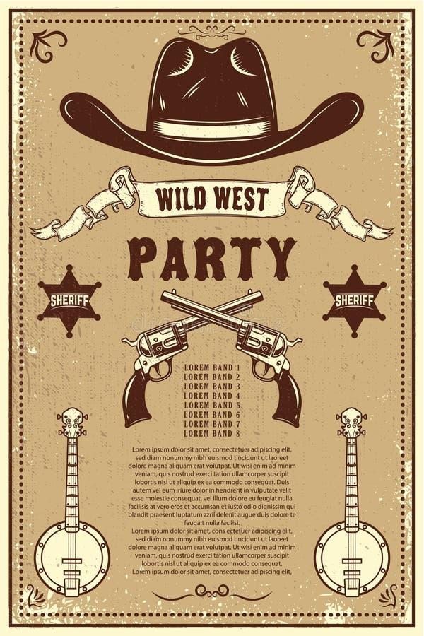 Modello del manifesto di festival di musica country Cappello da cowboy con i revolver attraversati Tema ad ovest selvaggio Elemen illustrazione di stock