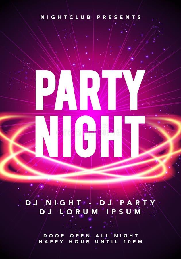 Modello del manifesto di musica da ballo di notte del partito dell'illustrazione di vettore Elettro invito dell'aletta di filatoi illustrazione di stock