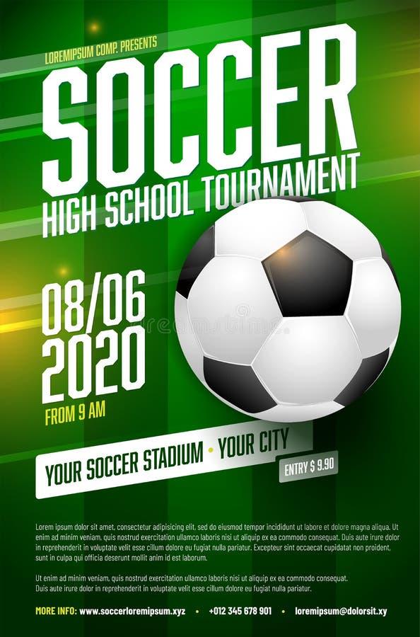 Modello del manifesto di torneo di calcio con la palla e l'erba royalty illustrazione gratis