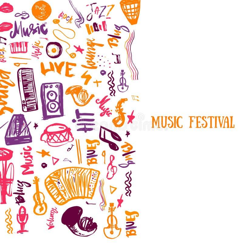 Modello del manifesto di vettore di concerto di musica Può essere usato per la promozione stampabile con gli elementi di scaraboc illustrazione vettoriale