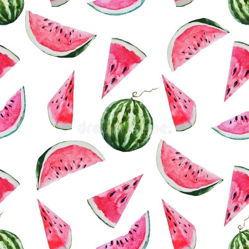 Modello del melone dell'anguria dell'acquerello royalty illustrazione gratis