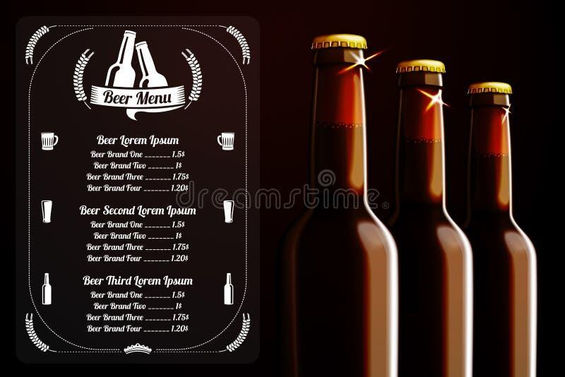 Modello del menu - birra ed alcool, con il posto per illustrazione di stock