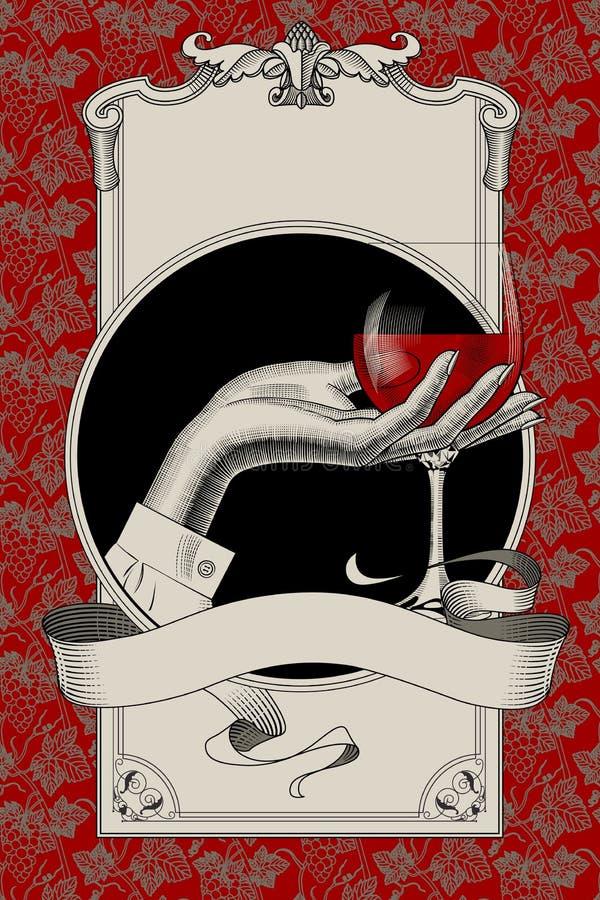 Modello del menu con il retro disegno del gl del vino della tenuta della mano del ` s della donna royalty illustrazione gratis
