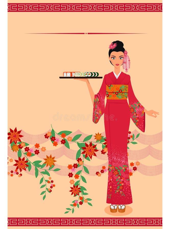 Modello del menu con la giovane ragazza giapponese illustrazione di stock