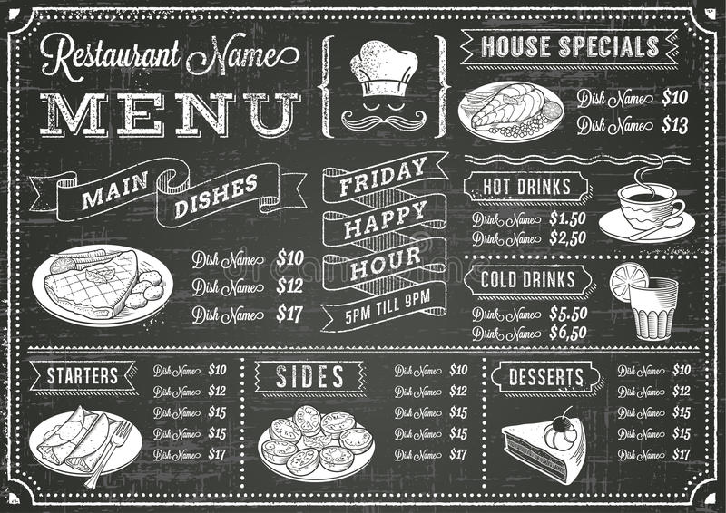 Modello del menu del ristorante della lavagna di lerciume