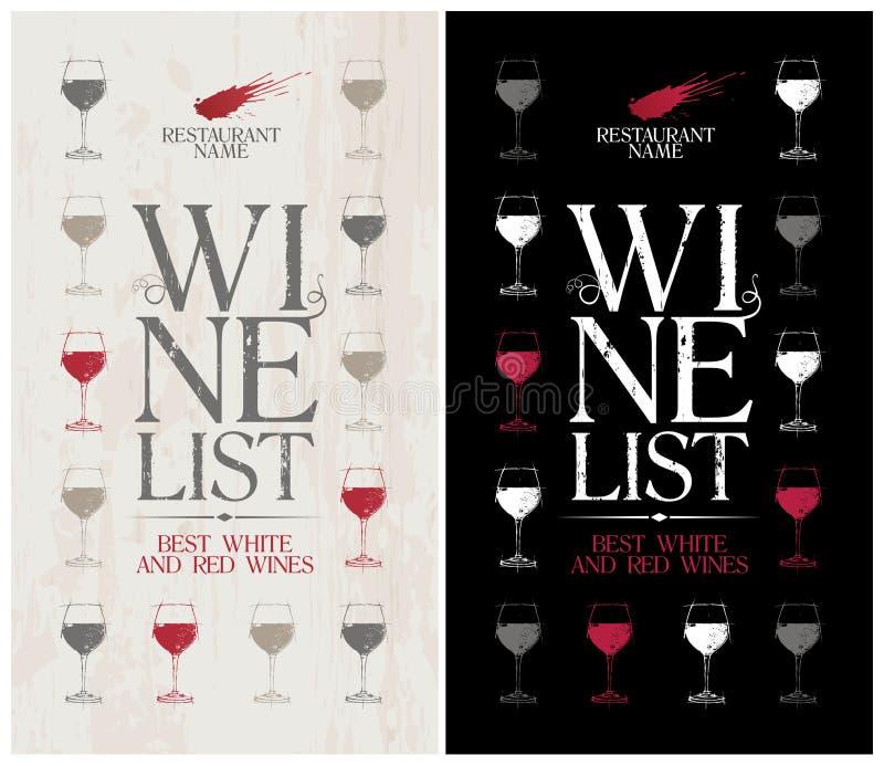 Modello del menu della lista di vino. illustrazione vettoriale