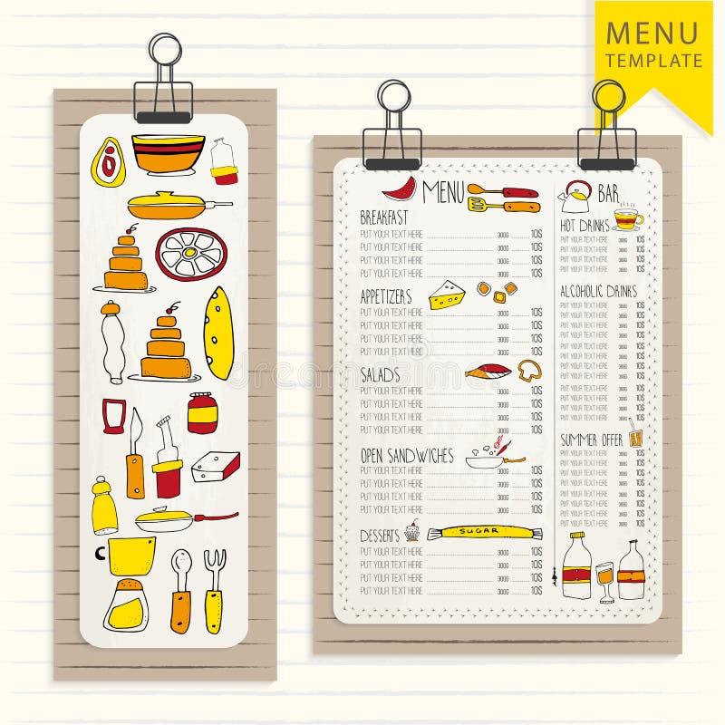 Modello del menu sul bordo di legno con le clip Elementi disegnati a mano Modello per il vostro disegno Stile dei pantaloni a vit illustrazione di stock