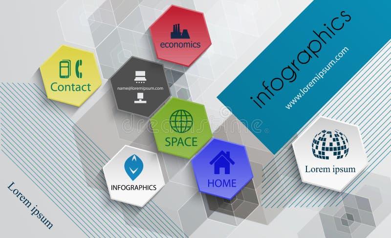 Modello del modello-manifesto di progettazione di tecnologia di Infographic, opuscolo illustrazione vettoriale
