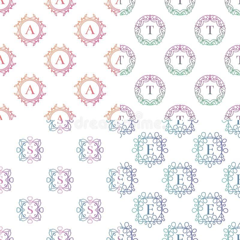 Modello del monogramma con il vettore senza cuciture del fondo del modello dell'ornamento di flourishes della lettera elegante ca illustrazione vettoriale
