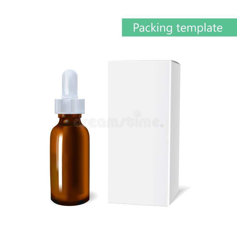 Modello del pacchetto dell'olio essenziale cosmetico con una bottiglia della pipetta L'idea dei cosmetici e delle medicine di dis royalty illustrazione gratis