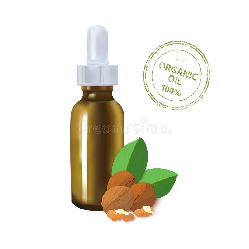 Modello del pacchetto dell'olio essenziale noce cosmetica con una bottiglia della pipetta L'idea dei cosmetici di disegno pubblic royalty illustrazione gratis