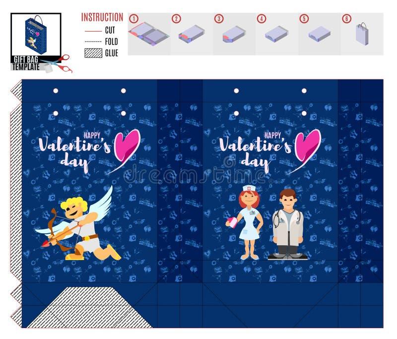 Modello del pacchetto di San Valentino con medico e l'infermiere illustrazione vettoriale