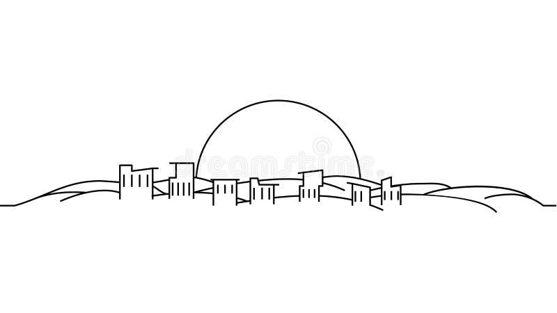Modello del paesaggio della città Linea sottile paesaggio della città Paesaggio urbano, illustrazione del profilo isolata deserto illustrazione di stock