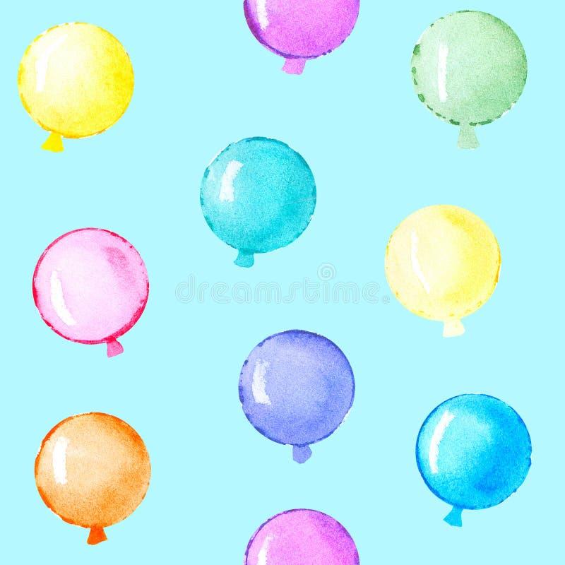 Modello del pallone dell'acquerello su fondo blu royalty illustrazione gratis