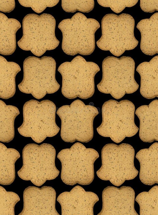 Modello del pan di zenzero su fondo nero, fondo senza cuciture di struttura Fiori di campane del biscotto del pan di zenzero illustrazione vettoriale