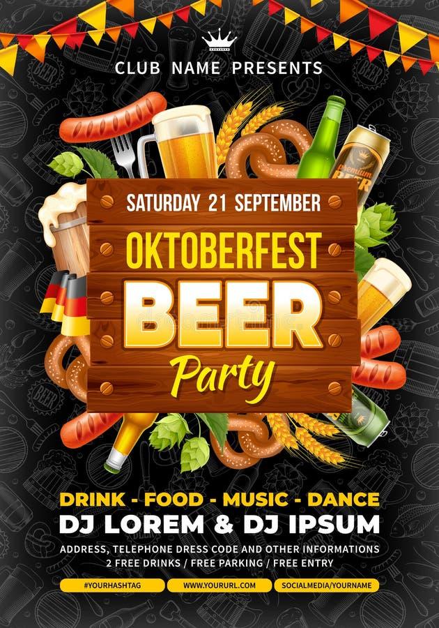 Modello del partito della birra di Oktoberfest fotografia stock