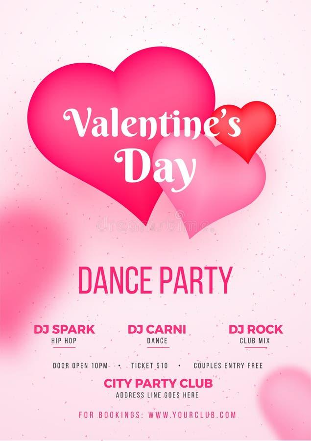 Modello del partito di ballo di San Valentino o progettazione dell'aletta di filatoio illustrazione di stock