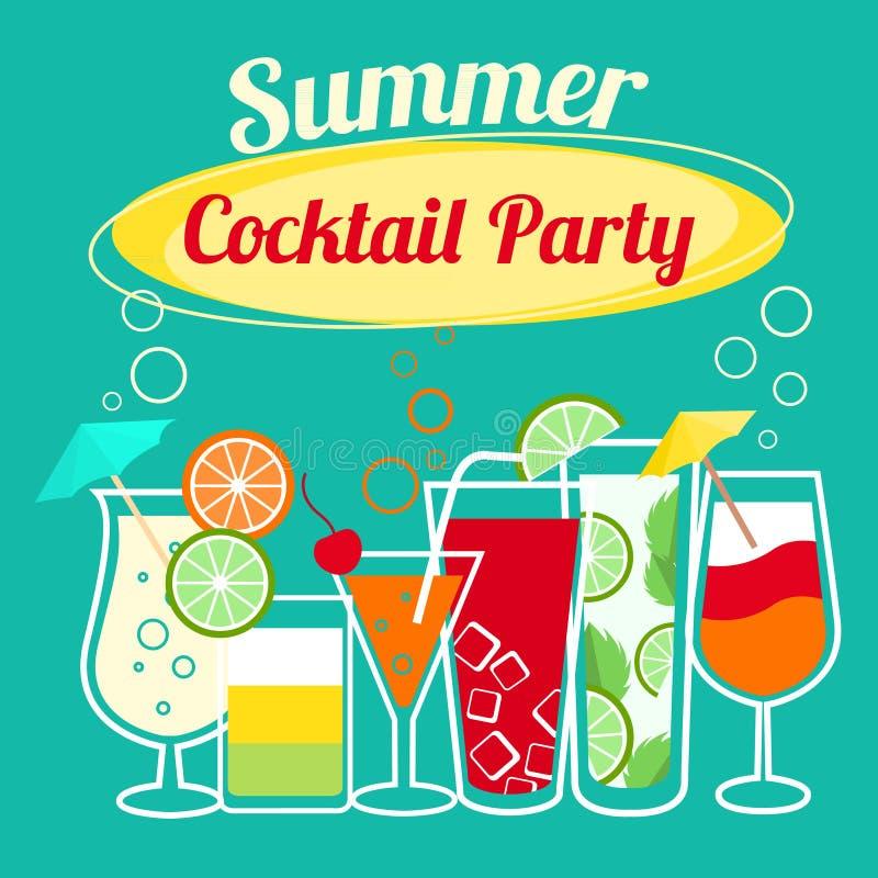 Modello del partito di cocktail di estate illustrazione vettoriale