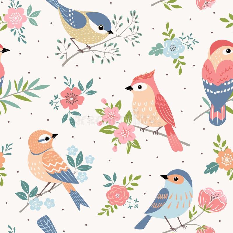 Modello del pastello dell'uccello royalty illustrazione gratis