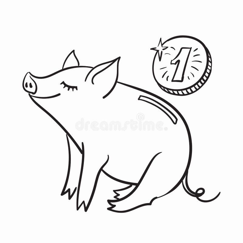 Modello del porcellino salvadanaio per la cartolina d'auguri Illustrazione lineare in bianco e nero di vettore Il maiale è un sim illustrazione vettoriale
