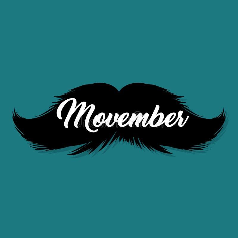 Modello del post del blog di Movember dei baffi per i blogger ed i media sociali Siluetta dei baffi isolata il nero royalty illustrazione gratis
