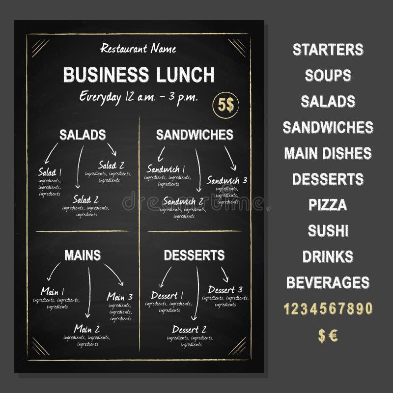 Modello del pranzo di lavoro sulla lavagna illustrazione di stock