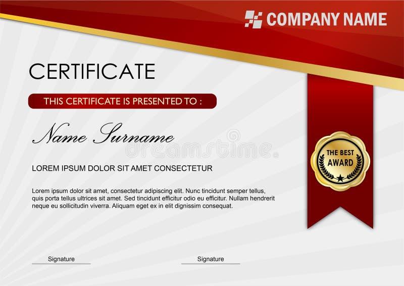 Modello del premio diploma/del certificato, buio rosso illustrazione vettoriale
