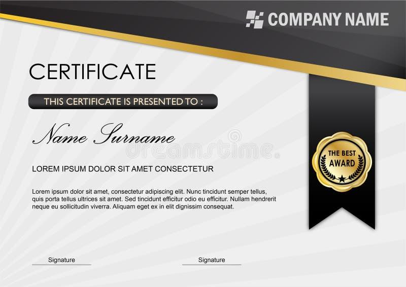 Modello del premio diploma/del certificato, Gray nero illustrazione di stock
