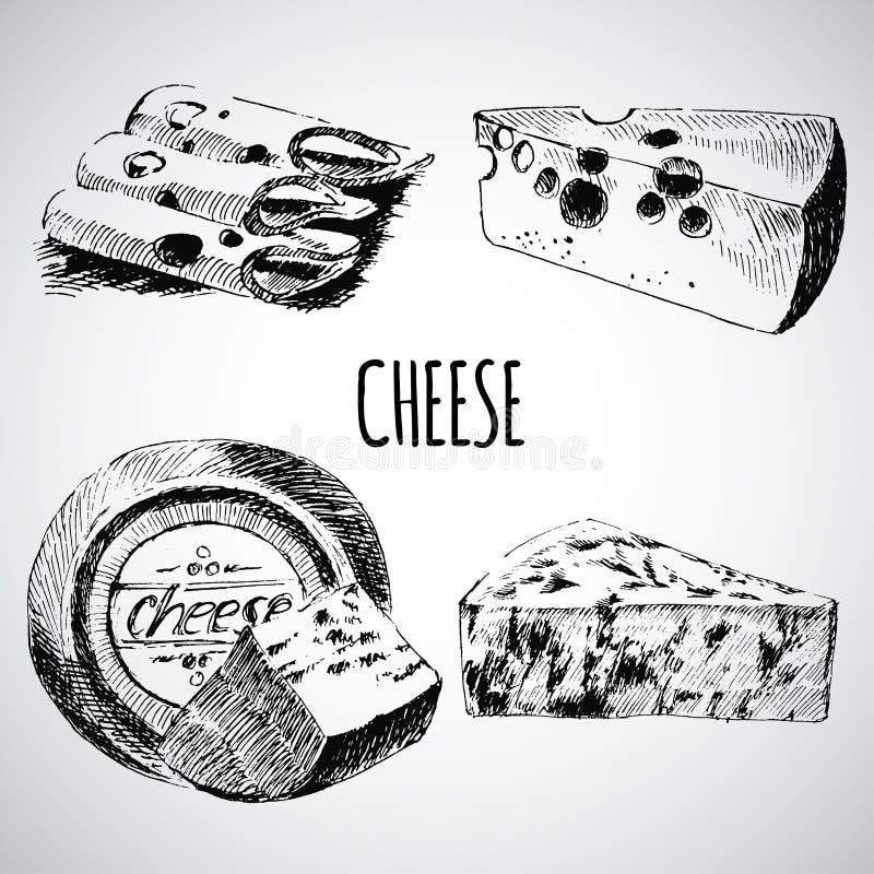 Modello del progettista del disegno di schizzo del formaggio di vettore Raccolta dell'alimento dell'azienda agricola prodotto lat illustrazione di stock