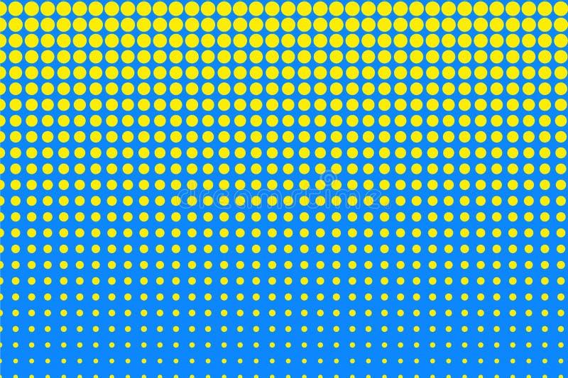 Modello del semitono del pois Cerchi gialli, punti su fondo blu Illustrazione di vettore illustrazione di stock