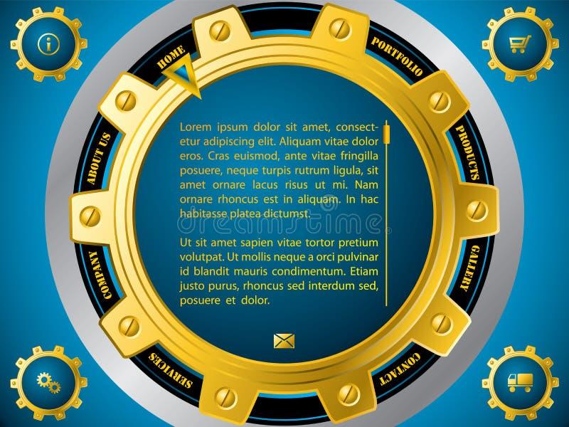Modello del sito Web di tecnologia con le ruote dentate illustrazione vettoriale