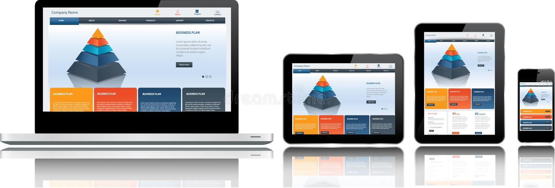 Modello del sito Web sui dispositivi multipli illustrazione di stock