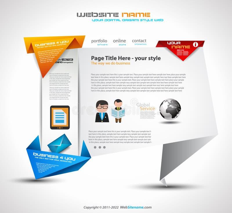 Modello del sito Web UI Ux di stile di origami per uno sguardo moderno illustrazione di stock