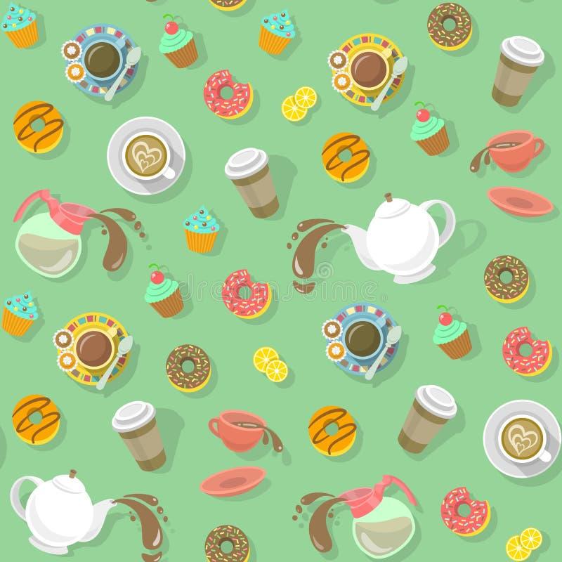 Modello del tè e del caffè illustrazione di stock