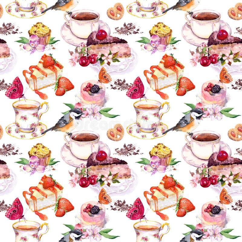 Modello del tè - fiori, tazza da the, dolci, uccello Acquerello dell'alimento Fondo senza cuciture royalty illustrazione gratis