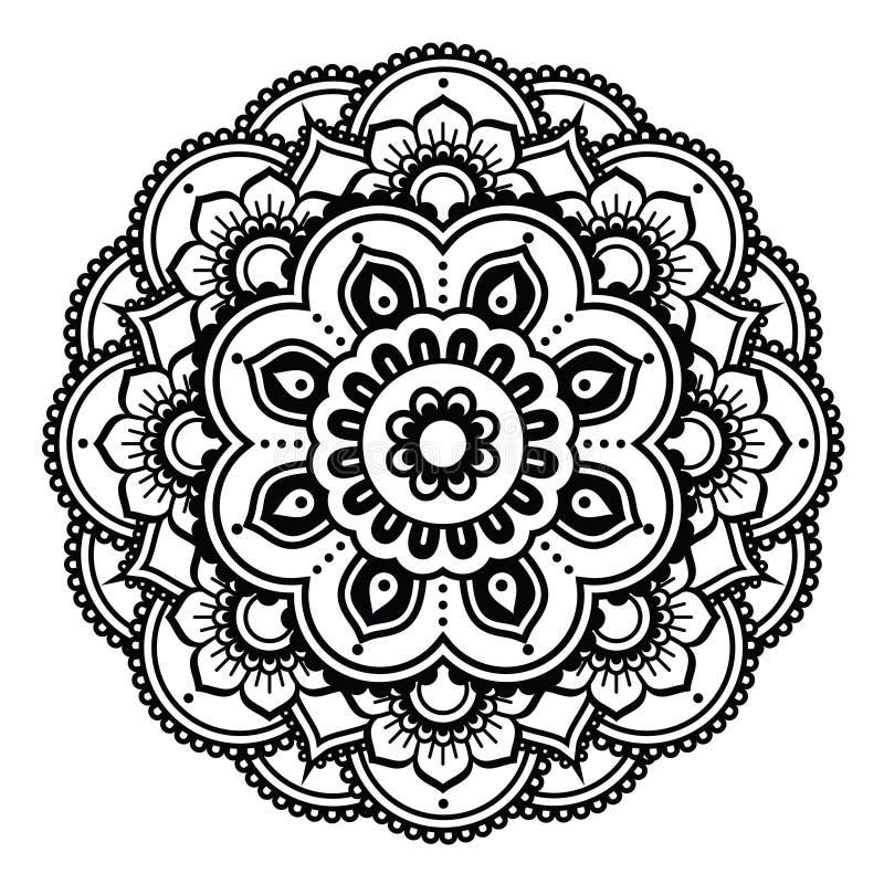 Modello del tatuaggio del hennè o fondo indiano - progettazione di Mehndi illustrazione vettoriale